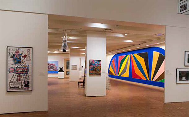 "Smith College Museum of Art lower level gallery featuring Frank Stella's ""Damascus Gate (Variation III)"". Photograph by by Lynne Graves."