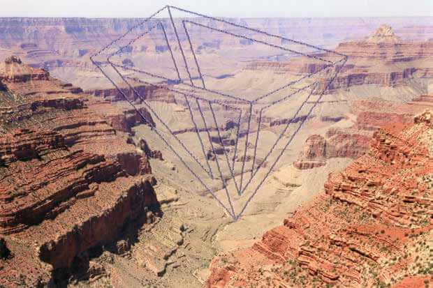 "Millee Tibbs, Impossible Geometries (Grand Canyon), 2014, thread on archival digital print, 7 1/2"" x 11""."