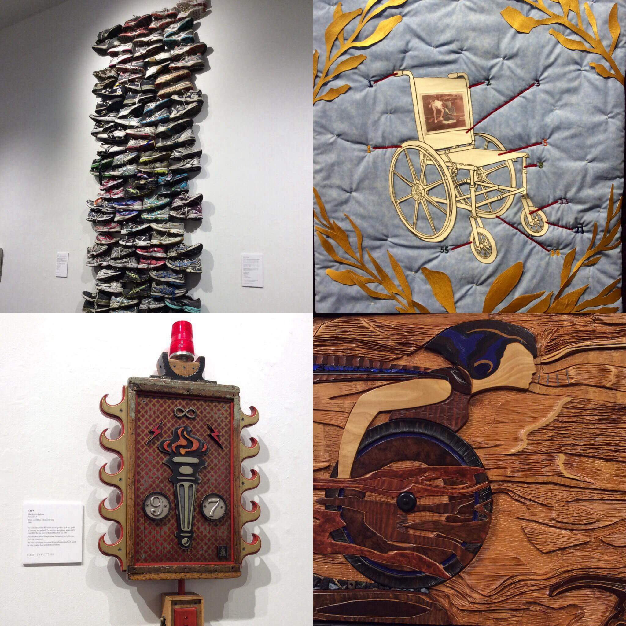 "(Clockwise from top left: ""Boston Strong,"" wall tower of 110 running shoes memorial assemblage; John Buron, ""Eugene Roberts,"" mixed media fabric/wall quilt banner; Jeff Grassie, ""Invincible,"" mixed media, wood, sculpture; Christopher DeRosa, ""1897,"" wood assemblage with electric lamp (photographs by J. Fatima Martins)."