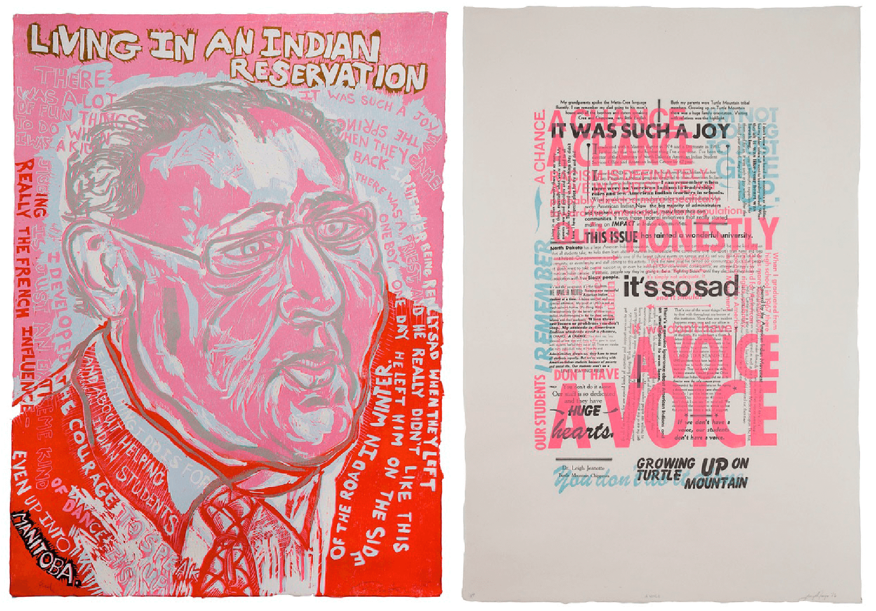 """Daniel Heyman and Lucy Ganje,It Was Such a Joy: Portrait of Leigh Jeanette, 2015–16,edition of 18,reduction woodcut and letterpress text, 54"""" x 35""""dimensions for each panel. Courtesy of Cade Tompkins Projects."""
