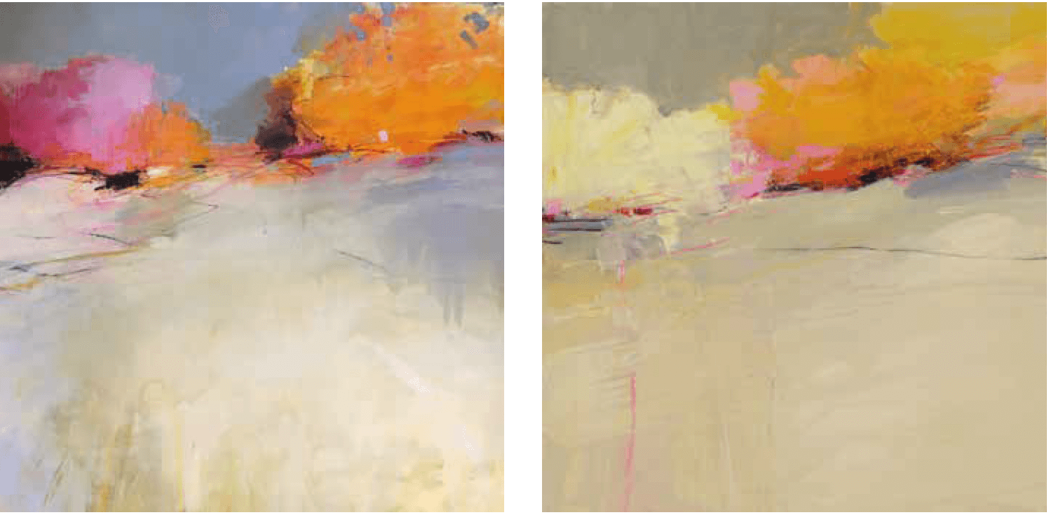 "LEFT: Julia Jensen, ""Understanding of Where,"" 2018, oil on panel, 30"" x 30"". RIGHT: Julia Jensen, ""Then I Walked Outside,"" 2018, oil on panel, 30"" x 30""."