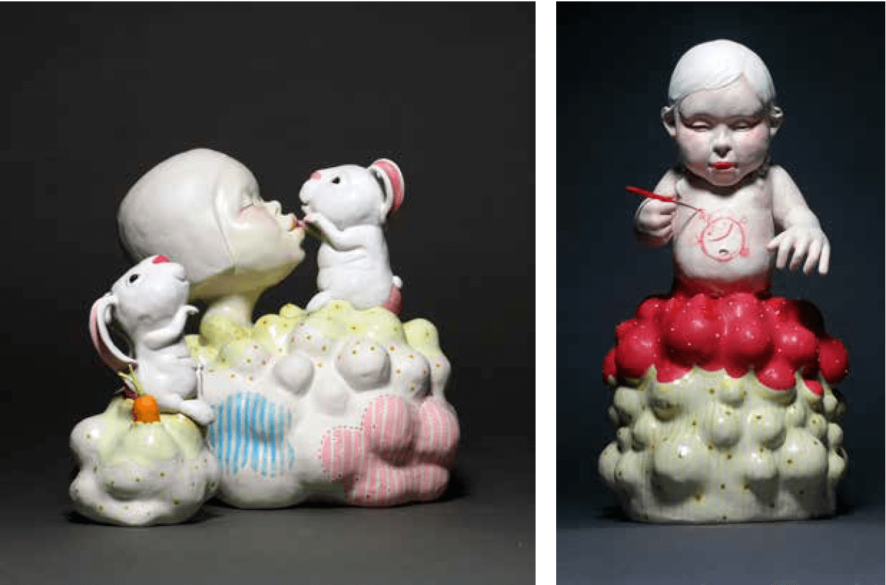 "LEFT: Kyungmin Park, ""Give me a Kissy Kiss,"" 2016, porcelain, underglaze, glaze, 13"" x 12"" x 10"". RIGHT: Kyungmin Park, ""Belly Canvas,"" 2016, porcelain, underglaze, glaze, milk paint, wax, 21"" x 12"" x 12""."