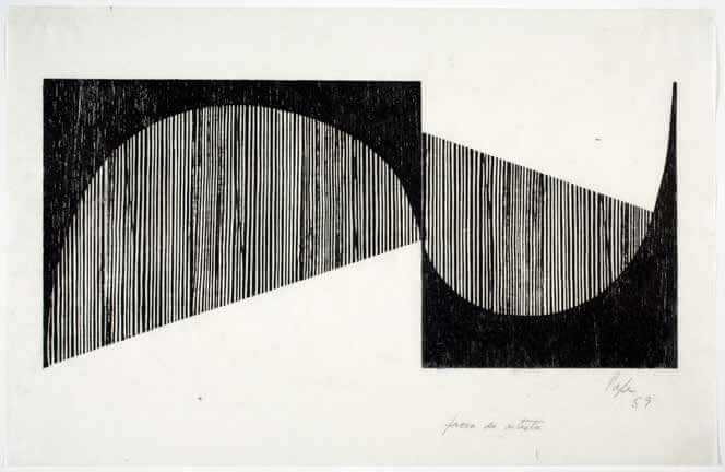 "Lygia Pape, ""Untitled,"" from the series ""Tecelares"", 1959, woodcut, 10"" x 16 5/8"", photograph by Davis Museum at Wellesley College, Wellesley, MA."