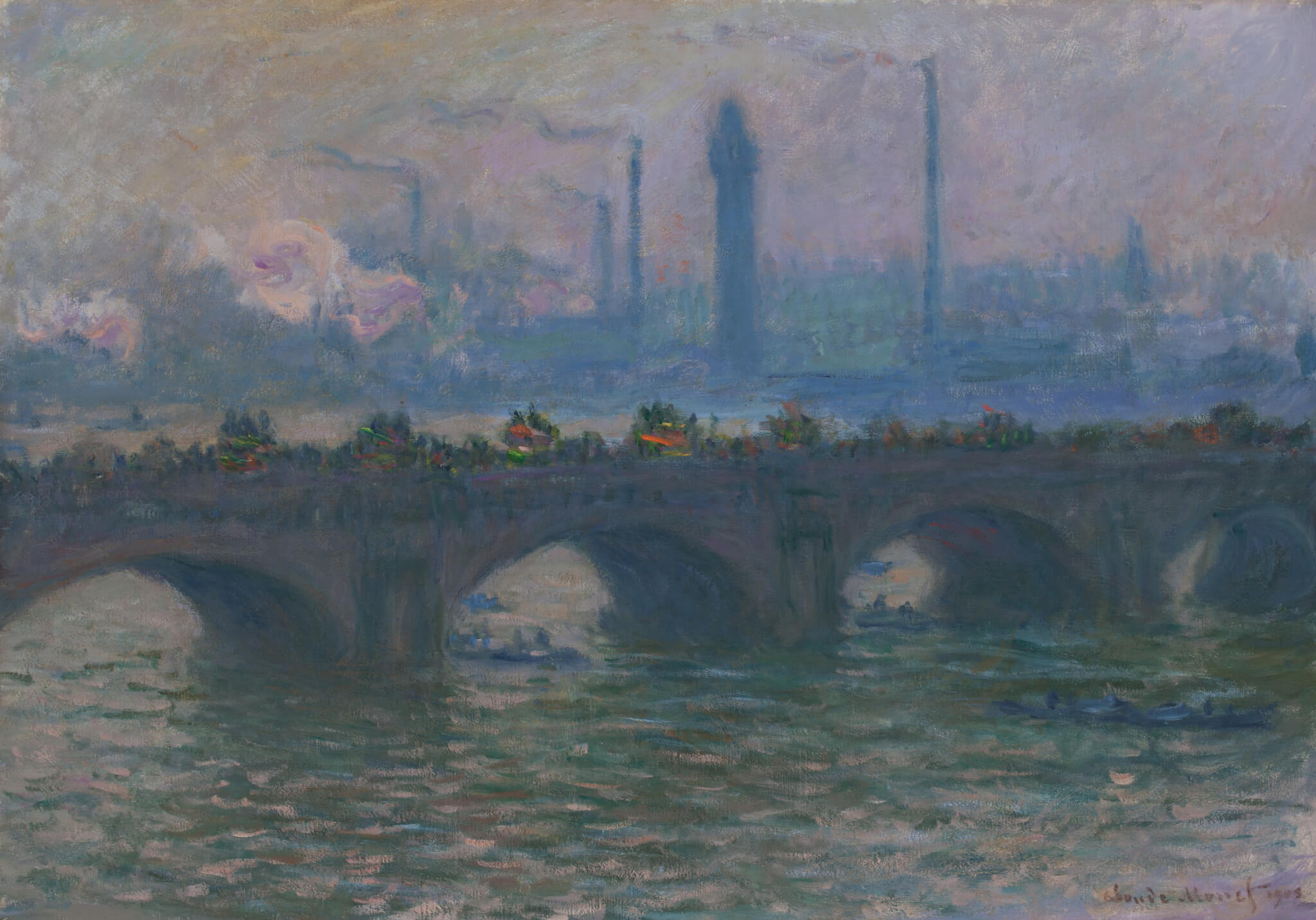 """Claude Monet, French, 1840-1926, """"Waterloo Bridge,"""" 1903, oil on canvas, Worcester Art Museum collection, Museum Purchase, 1910.37. Photograph courtesy of the Worcester Art Museum."""