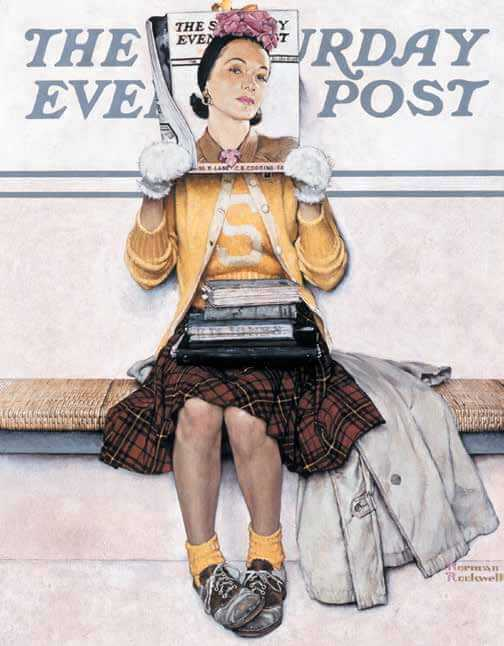 "Norman Rockwell (1894–1978), ""Girl Reading the Post,"" 1941, oil on canvas, 35 1/4"" x 27 1/4"". Cover illustration for The Saturday Evening Post, March 1, 1941 From the permanent collection of Norman Rockwell Museum. ©1941 SEPS: Licensed by Curtis Publishing, Indianapolis, IN."