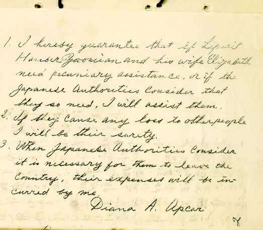 """Diana Apcar, """"Handwritten Surety Letter to Japanese Government,"""" c. 1919, ink on note-paper."""